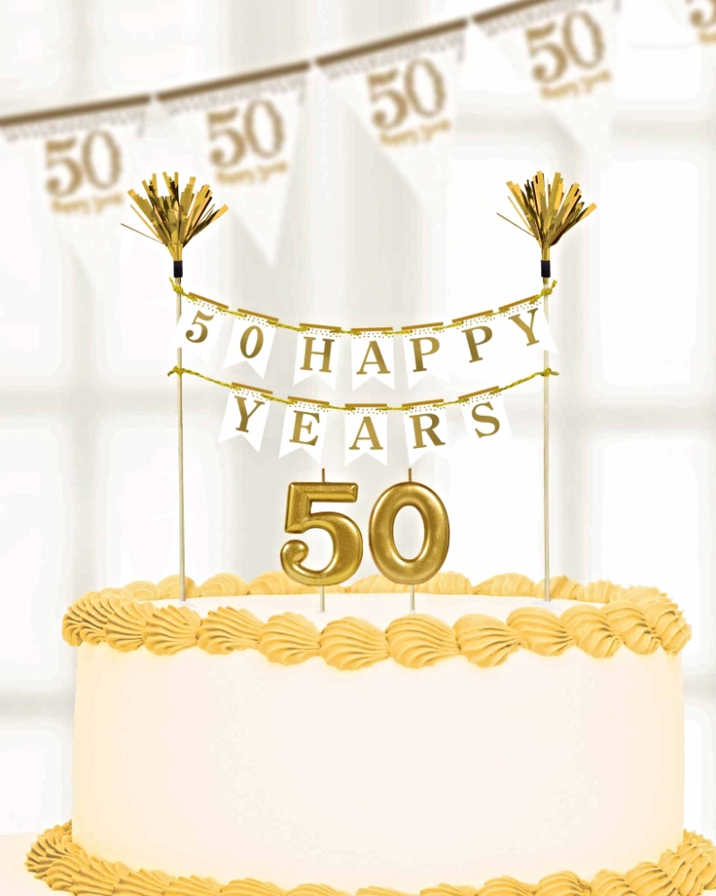 Sparkling Golden Anniversary Cake Decorations Candles